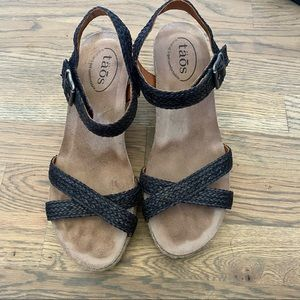 Taos Hey Jute braided leather espadrille wedge 8.5